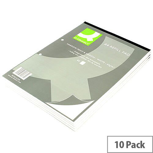 Refill Pad A4 Ruled Narrow Feint and Margin Punched 2-Hole Head Bound 80 Leaf 10 Pack Q-Connect