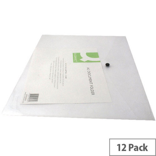 A3 Envelope Wallet Plastic Transparent Pack 12 Q-Connect