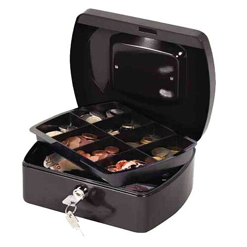 Q-Connect Compact Cash Box Black – 8 Inch, Key Lock, 8 Coin Compartments, Metal Handle, 2 Keys, Removable Tray, Suitable For Outside Environments &196x155x87mm (KF02602)