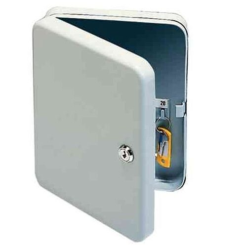 Q-Connect 20 Key Safe Cabinet Pearl Grey – Comes With 2 Keys, Cylindrical Lock, Wall-Mounting Kit, Key Hangers, Labelling Strips &Index Sheets (KF02605)