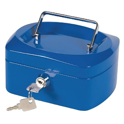 Q-Connect Mini 6 Inch Key Lock Cash Box Blue 8 Coin Compartments