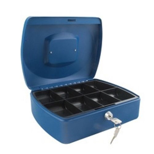 Q-Connect Standard 10 Inch Key Lock Cash Box Blue