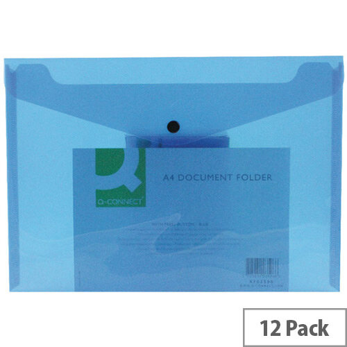A4 Envelope Wallet Plastic Transparent Blue Pack 12 Q-Connect