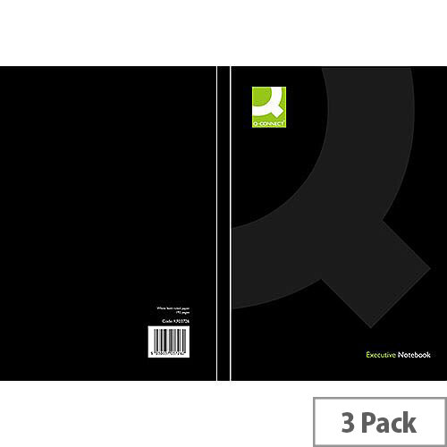 Q-Connect A5 Casebound Book Black 3 Pack KF03726