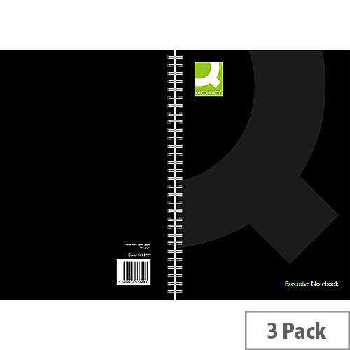 Q-Connect Wirebound Book Polypropylene Cover A4 Black KF03729 3 Pack