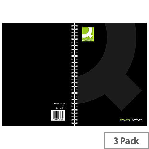 Q-Connect Wirebound Book Polypropylene Cover A5 Black 3 Pack KF03730