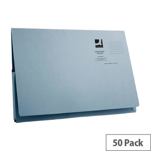 Longflap Document Wallet 300gsm Foolscap Blue Pack of 50 Q-Connect