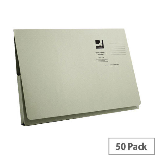 Longflap Document Wallet 300gsm Foolscap Green Pack of 50 Q-Connect