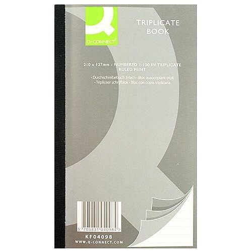 Q-Connect Triplicate Book 8.2x5 inches Ruled Feint