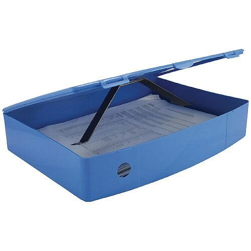 Foolscap Box File Blue Plastic Twin Clip Lock 78mm Spine Q Connect