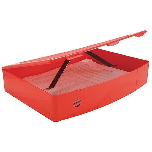 Foolscap Box File Red Plastic Twin Clip Lock 78mm Spine Q Connect