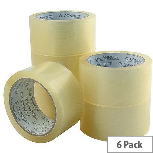 Q-Connect Low Noise Polypropylene Packaging Tape 50mm x 66m Clear (Pack of 6)