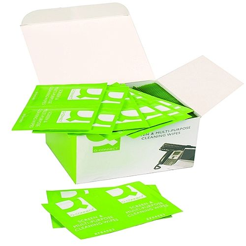 Q-Connect Screen &Multi-Purpose Wipes Pack of 100 KF04503