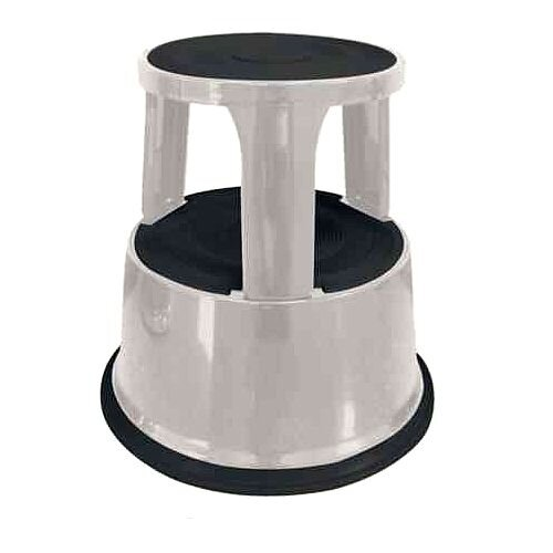 Q-Connect Steel Mobile Kick Step Stool Light Grey