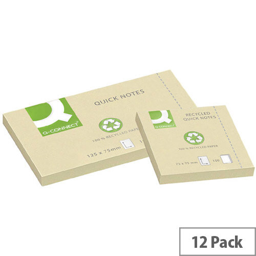Q-Connect Quick Note Repositionable Pad Recycled 76 x 76mm Yellow KF05609