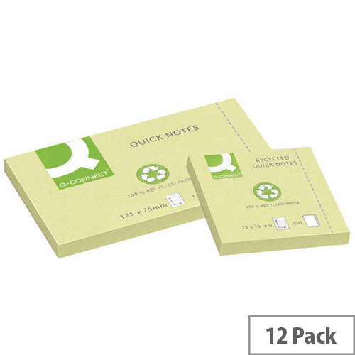 Q-Connect Quick Note Repositionable Pad Recycled 76 x 127mm Yellow KF05610