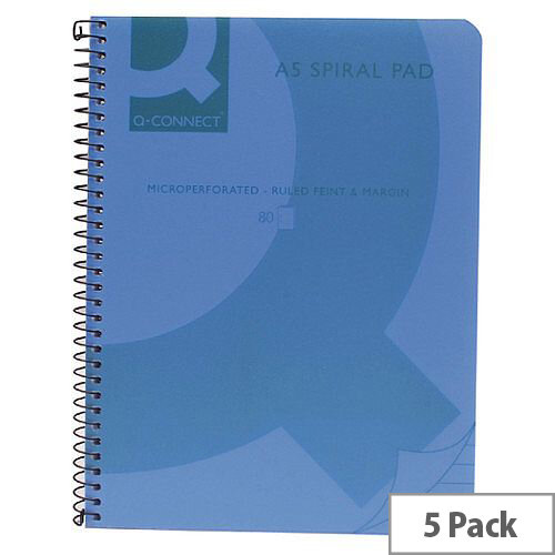 Q-Connect Spiral Book A5 Polypropylene Transparent Blue 5 Pack KF10034