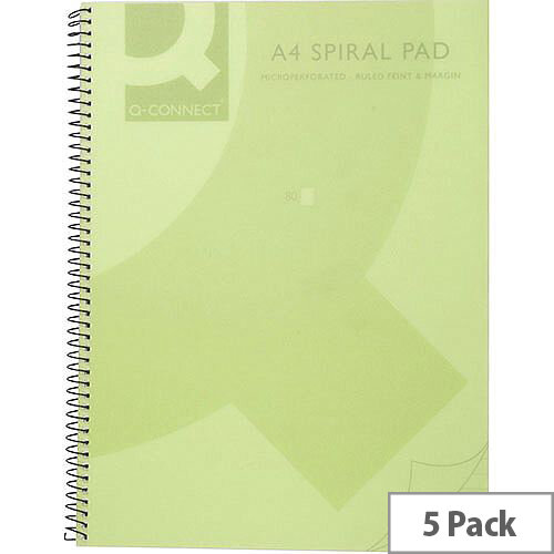 Q-Connect Spiral Book A4 Polypropylene Transparent Green 5 Pack KF10036