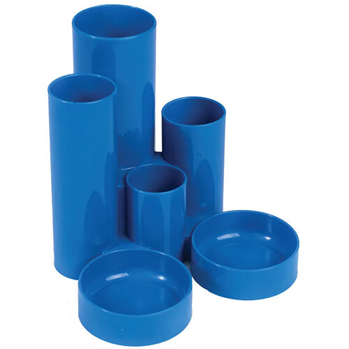 Q-Connect Desk Tidy Blue 6 Compartment Tubes Q-Connect KF10041