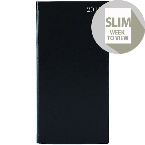 Week to View 2019 Portrait Black Slim Diary KF1BK19