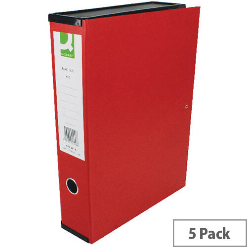 Box File Foolscap 75mm Spine Red 5 Pack Q-Connect