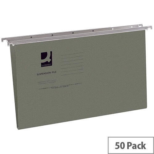 Q-Connect Suspension File Tabbed Foolscap Pack of 50 KF21001 - Files for suspension filing systems - Made from durable heavyweight manilla - Front opening to give easy access to files