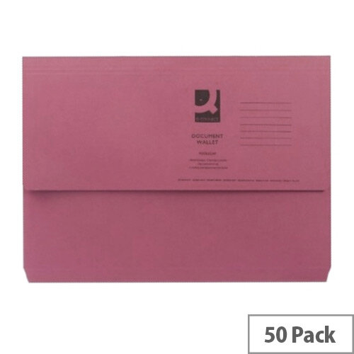 Document Wallet Half Flap Foolscap Pink Pack 50 Q-Connect