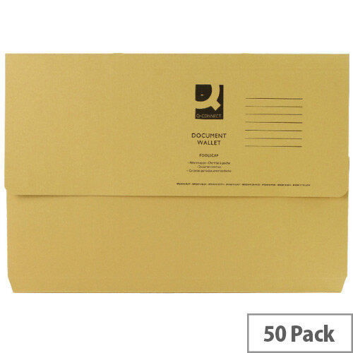 Document Wallet Half Flap Foolscap Yellow Pack 50 Q-Connect