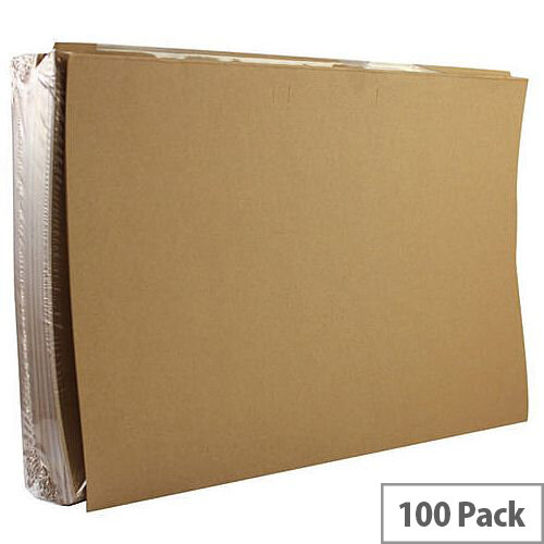 Square Cut Folder 170gsm Kraftliner Foolscap Buff Pack 100 Q-Connect KF23025