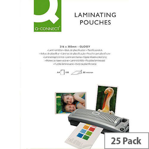 Q-Connect Laminating Pouch A4 Sticky-Backed 250 microns Pack of 25