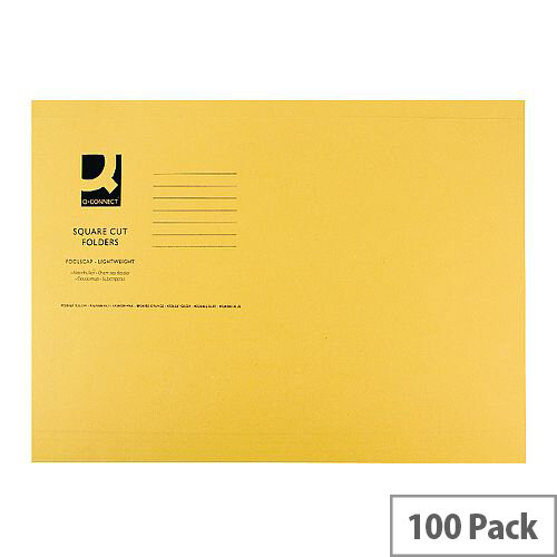 Q-Connect Square Cut Folder Light-Weight 180gsm Foolscap Yellow Pack 100