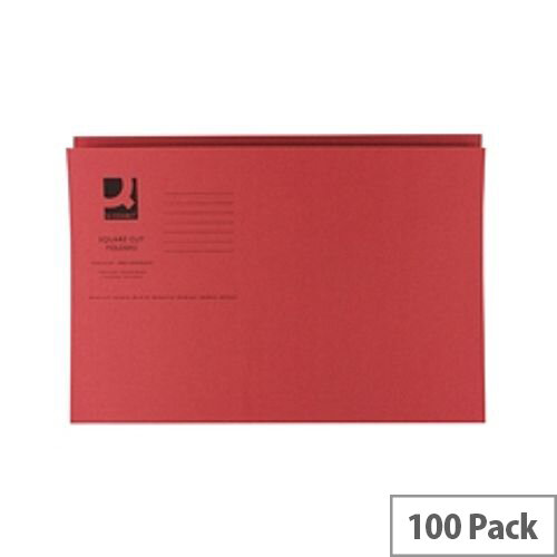 Q-Connect Red Square Cut Folder Lightweight 180gsm Foolscap Pack of 100 KF26028