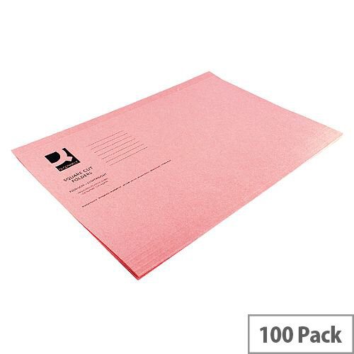 Q-Connect Square Cut Folder Light-Weight 180gsm Foolscap Pink Pack 100