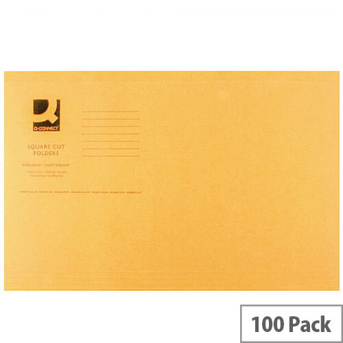Q-Connect Orange Square Cut Folder Lightweight 180gsm Foolscap Pack of 100