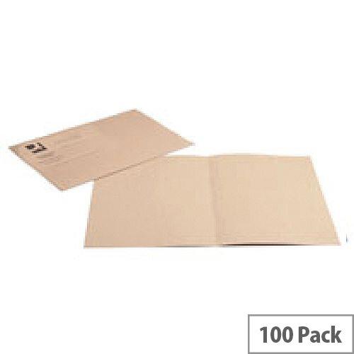Q-Connect Square Cut Folder Light-Weight 180gsm Foolscap Buff Pk 100