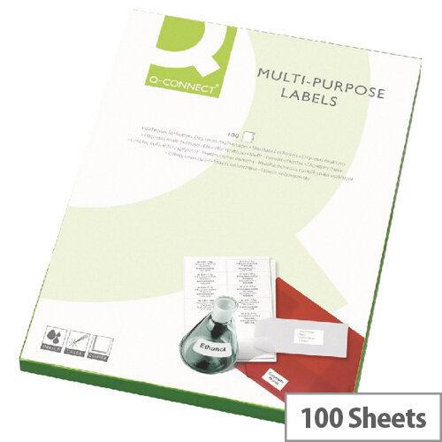 Q-Connect 18 Per Sheet Multi-Purpose Labels 63.5x46.5mm (1800 Labels)