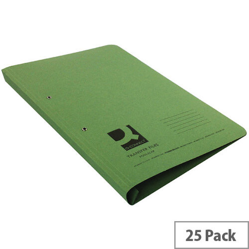 Q-Connect Transfer File Foolscap/A4 35mm Capacity Green Pack 25