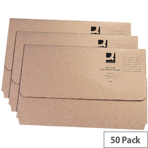 Document Wallet Recycled Kraft Foolscap 50 Pack Q-Connect