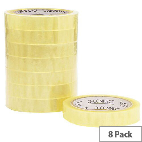 Q-Connect Easy Tear Polypropylene Tape 19mmx66m Pk 8 KF27016
