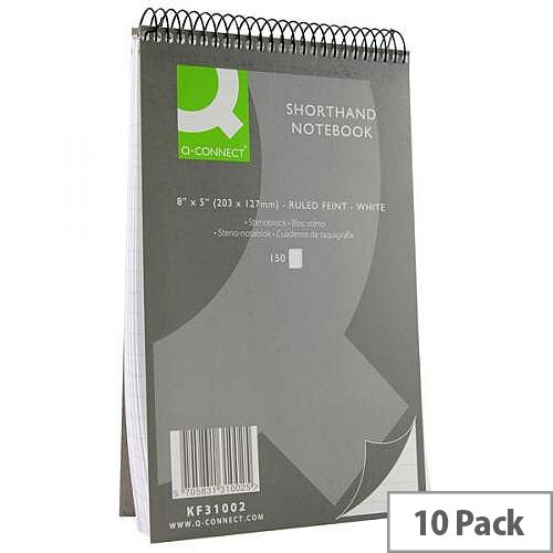 Spiral Notebook 203x127mm Headbound Ruled 150 Leaf 10 Pack Q-Connect