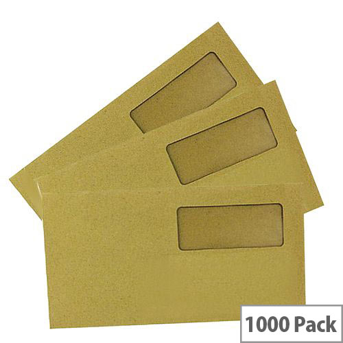Q-Connect Envelope DL High Window 70gsm Manilla Gummed Pack of 1000 KF3409