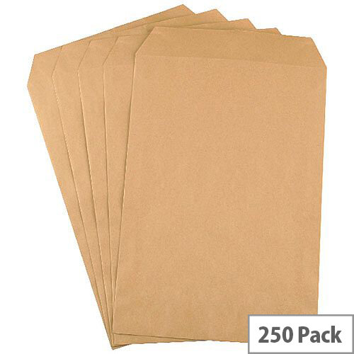 Q-Connect C4 Mediumweight Manilla 90gsm Envelopes Pocket Press Seal Pack 250 KF3419