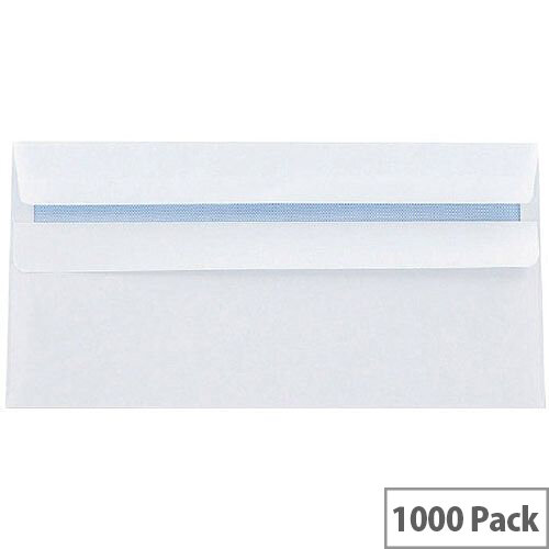 Q-Connect Envelope DL White Wallet Press Seal 80g Pack 1000 KF3454