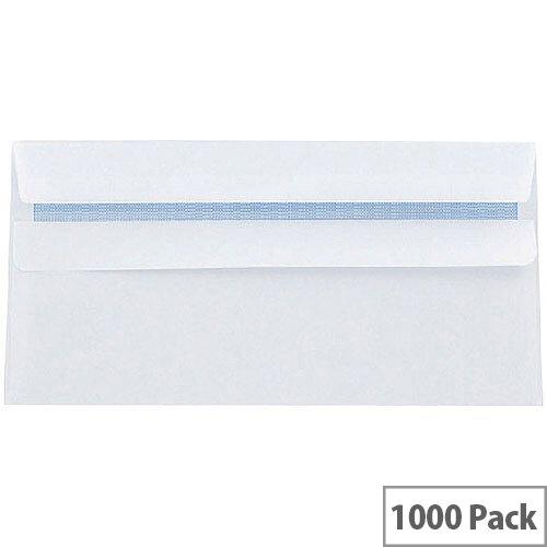 Q-Connect Envelopes DL White Wallet Press Seal 90gsm Pack 1000 KF3480