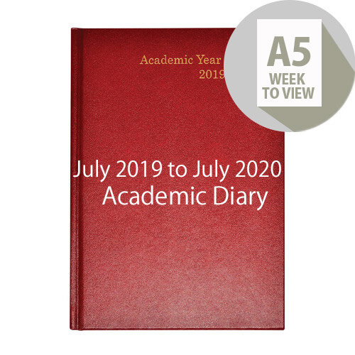 Academic Diary Week to View 2019-20 A5 Burgundy KF3A5ABG19