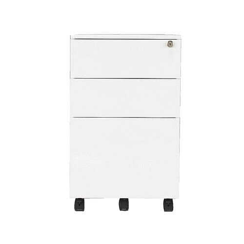 Jemini Mobile Steel Pedestal White KF74156