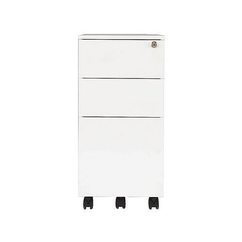 Jemini Mobile Steel Pedestal Slimline White KF74158