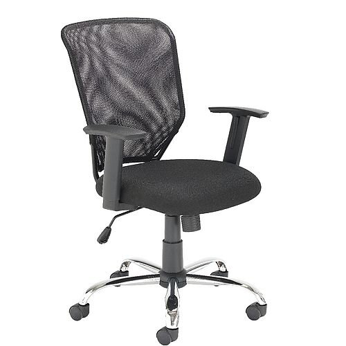 Mesh Back Office Chair With Arms &Chrome Base Black - Tilt Tension Adjustment Mechanism - recommended usage time of 5 hours a day - ideal chair for an office or home office