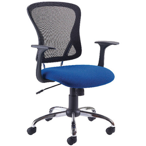 First Contemporary Mesh Office Chair Blue Black KF74845