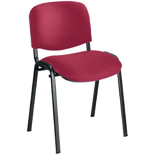First Ultra Multi Purpose Stacking Chair Claret Fabric &Black Metal Frame KF74892